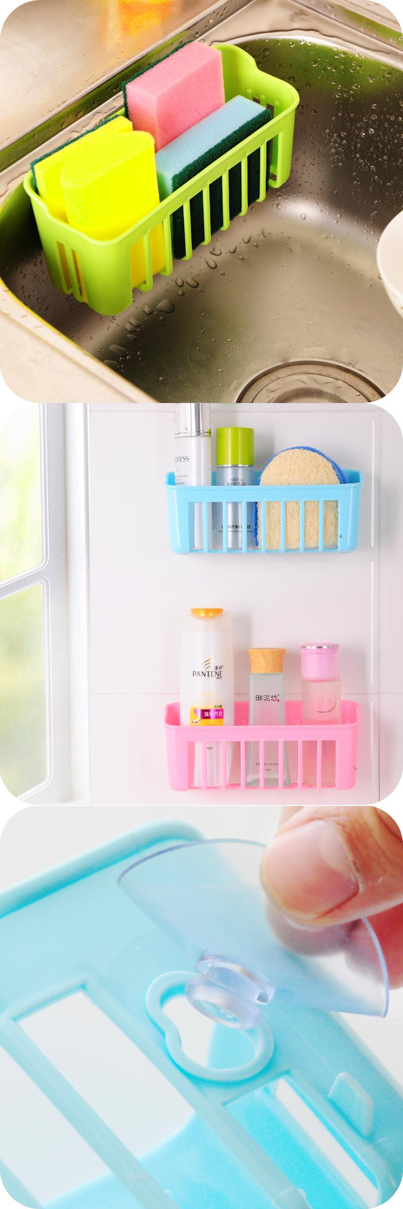 Plastic removable bath shelf wall mounted cosmetic holder storage -  Visit To Buy New Plastic Storage Basket With 2 Sucker Kitchen Tools Organizer Bathroom