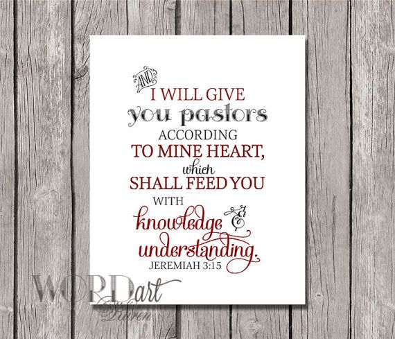 Pastor Appreciation Scripture Digital Print Pastors