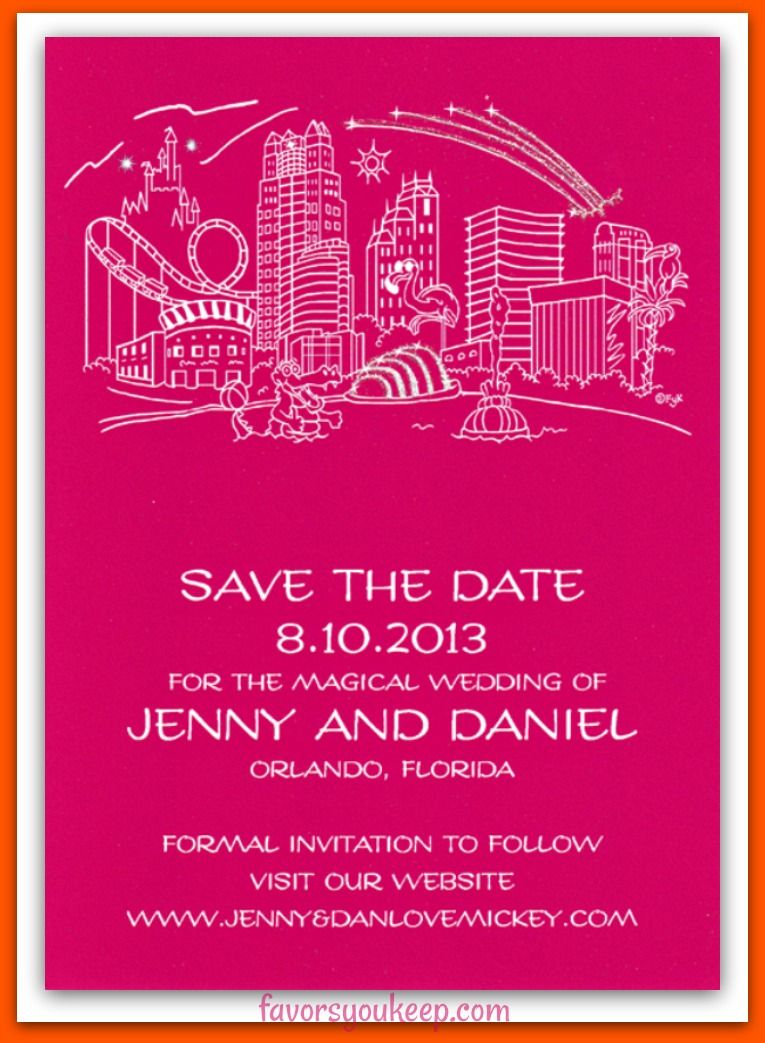 Orlando Skyline on a hot pink card stock. Change the font, wording ...