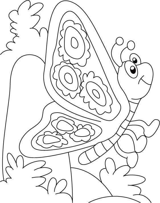 Butterfly thinking something coloring pages   Download Free ...