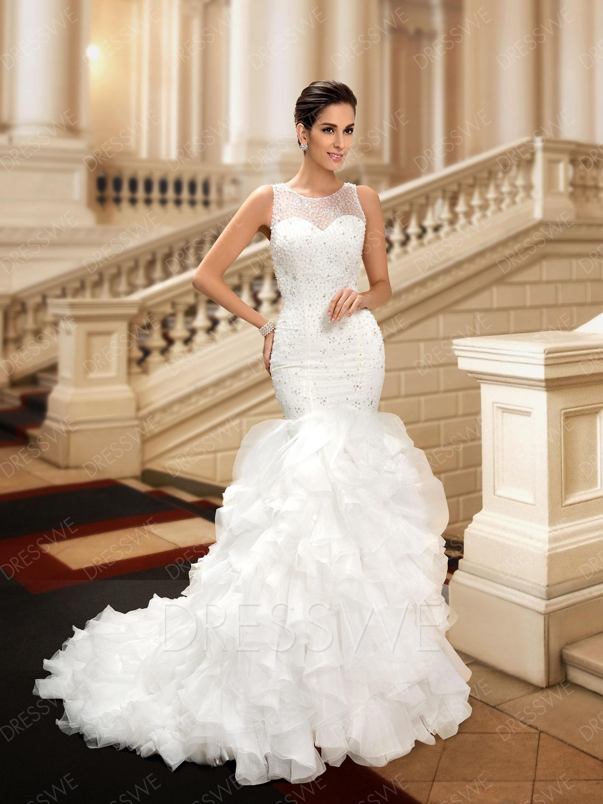 Mermaid ruffle wedding dress  AdoreWe DressWe DressWe FirstClass Scoop Neck Beading Mermaid