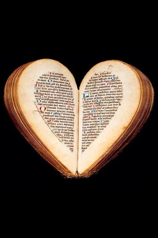 "15th Century ""Book of Hours"" heart shaped when open(Amiens Nicolas Barrie) with some original illuminations it is Almond shaped when closed."