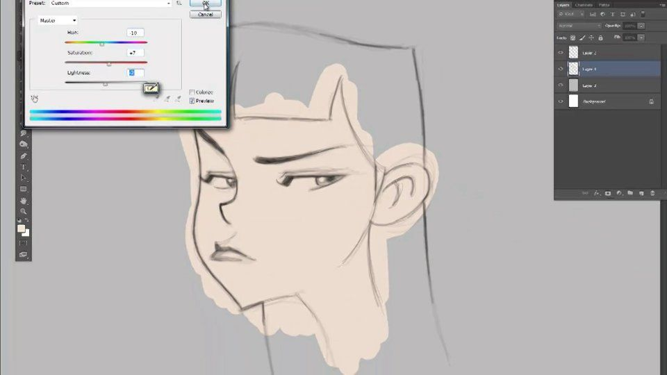 Line Drawing Cartoon Face : Cartoon face coloring step 2 : light faces and