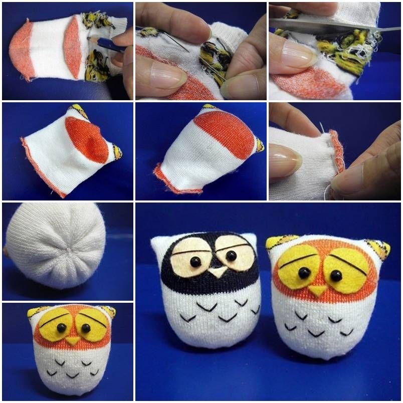 Diy cute sock owls diy tutorial project ideas and socks diy cute sock owls solutioingenieria Images