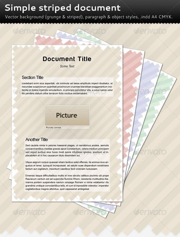 Simple Striped Document | Striped background, Template and Print ...