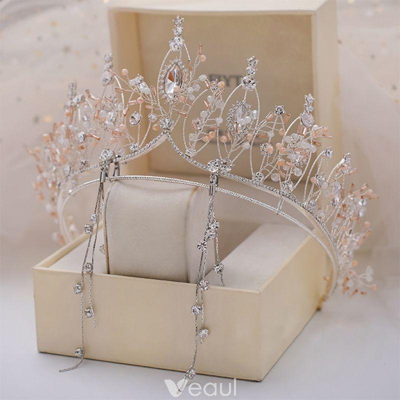 Chic / Beautiful Silver Tiara Earrings Bridal Jewelry 2019 Metal Crystal Rhinestone Bridal Hair Accessories