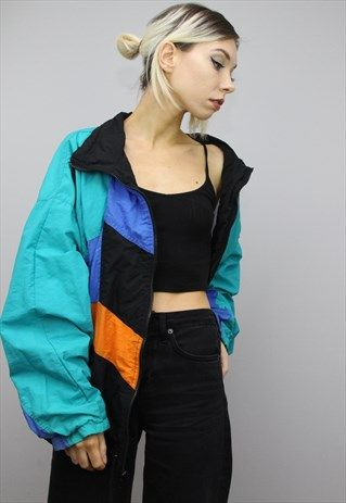 Vintage 80s 90s Oversized Colourful Shell Windbreaker Jacket Throwback Outfits Vintage Jacket Outfit Retro Outfits