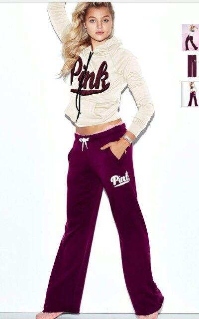 3fc96cffb6ab6 White and dark purple PINK hoodie and sweatpants | F a s h i o n ...