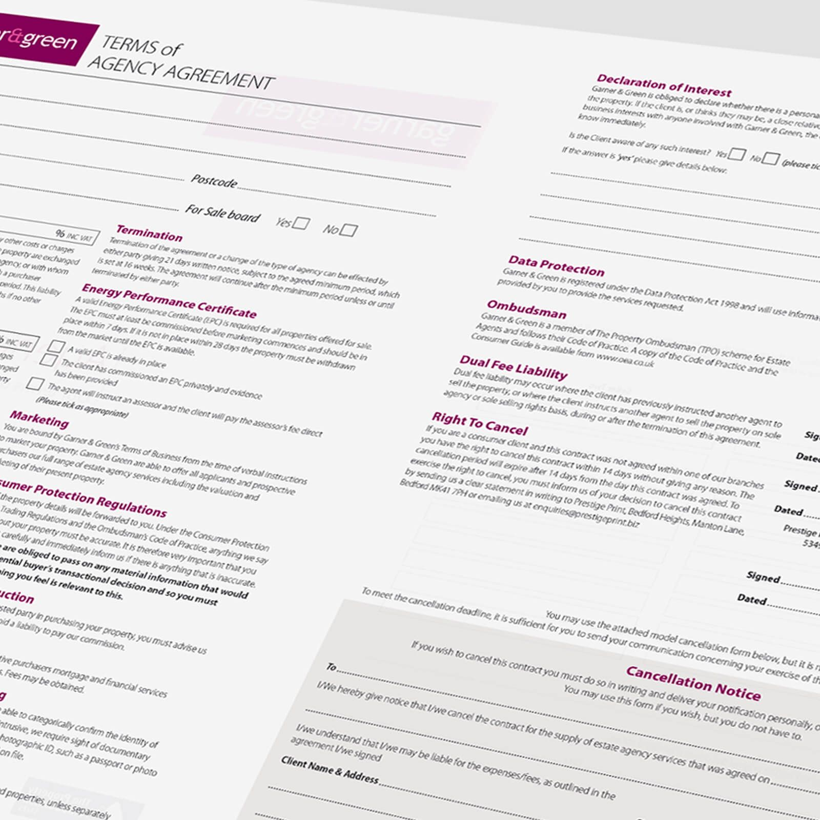 Estate agents agreement template FeatureHead NCR Sales 02 | Front ...