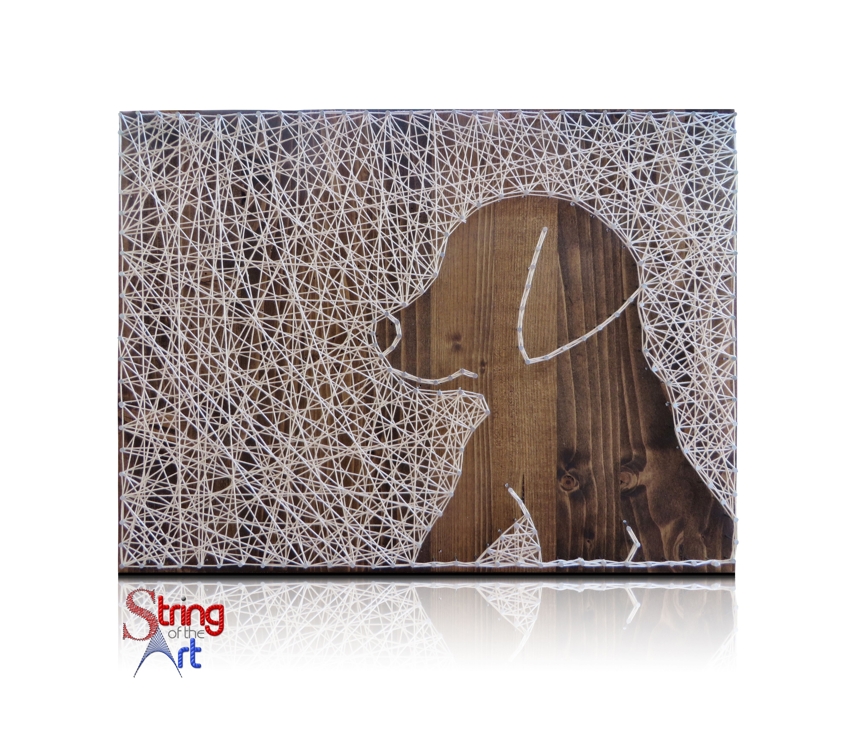 DIY String Art Kit - Puppy String Art Kit, Stained Wood String Art ...