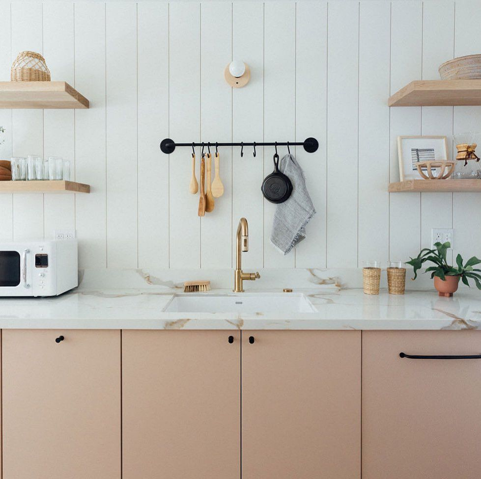 Kitchen Of The Week Ikea Meets Semihandmade In A Shell Pink Beach House San Diego Interior Desi In 2020 Pink Kitchen Cabinets Kitchen Cabinet Interior Timber Kitchen