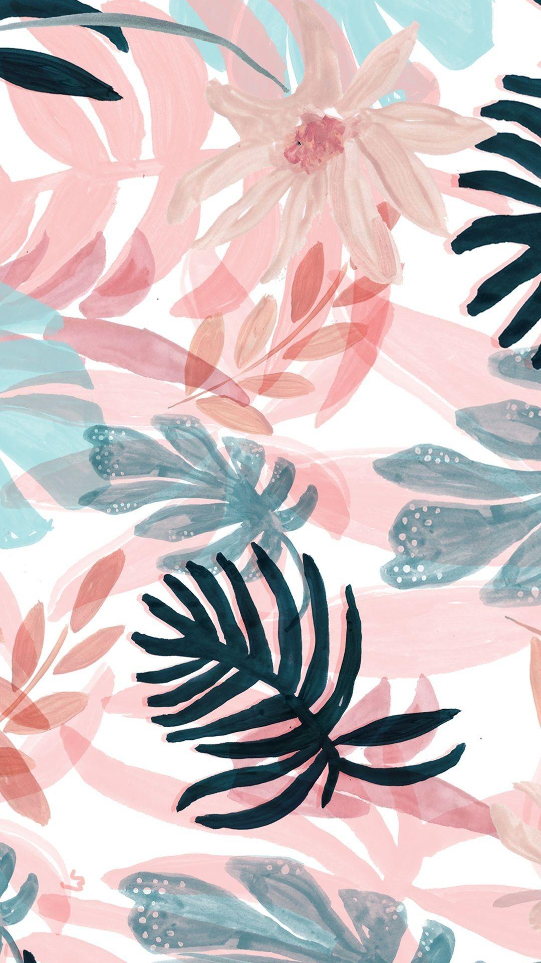 Pattern Pink Botany Design Leaf Plant Iphone Wallpaper Pattern Tropical Wallpaper Flower Wallpaper
