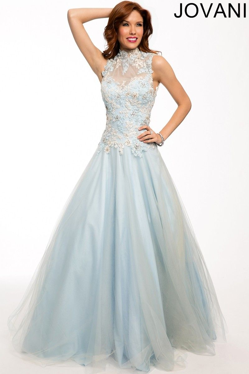 The Jovani 92272 prom dress features a funnel collar and an ...