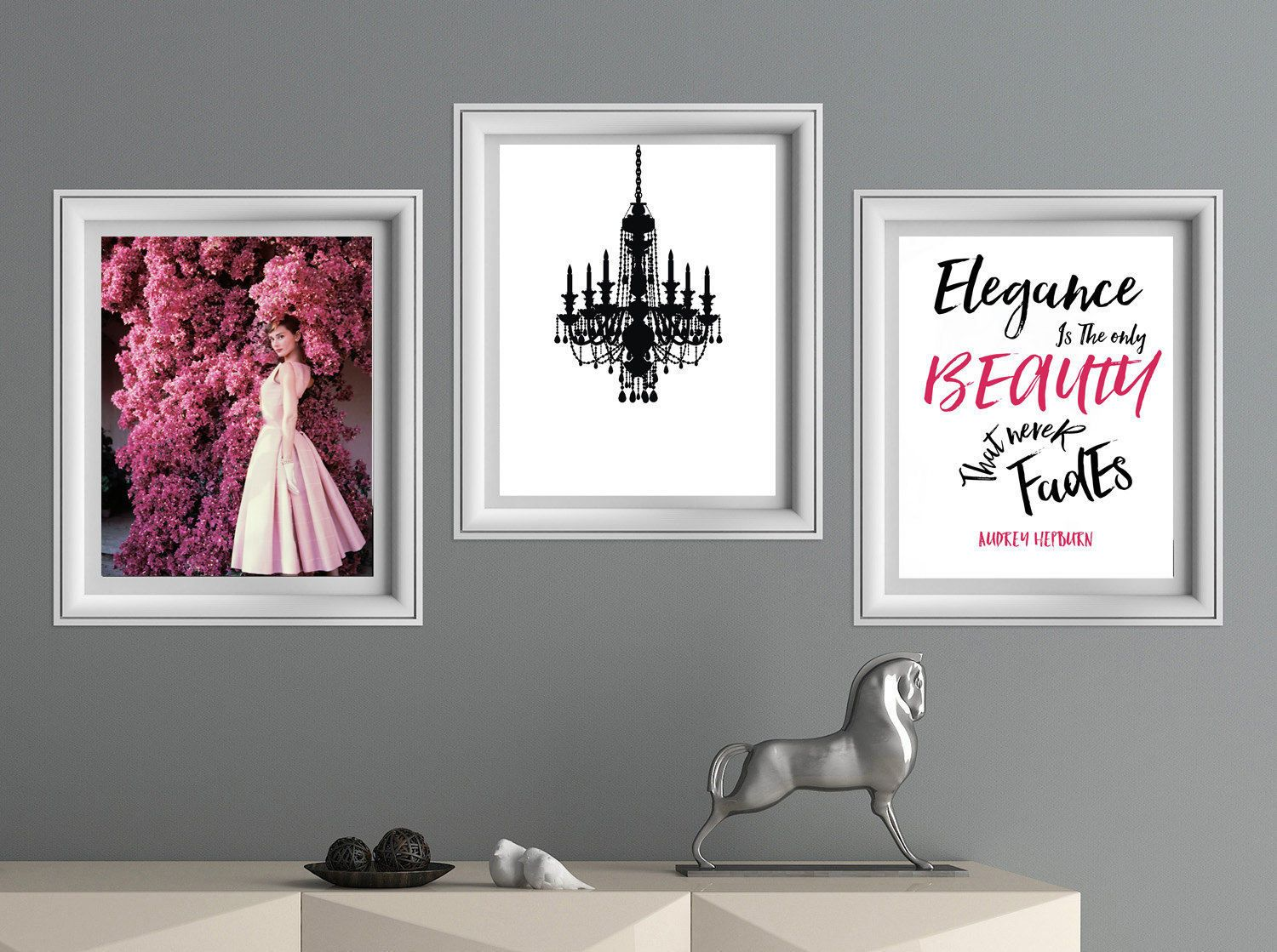 Audrey hepburn print chandelier wall art breakfast at tiffanys wall audrey hepburn print chandelier wall art black and pink wall decor set of 3 instant downloads arubaitofo Choice Image