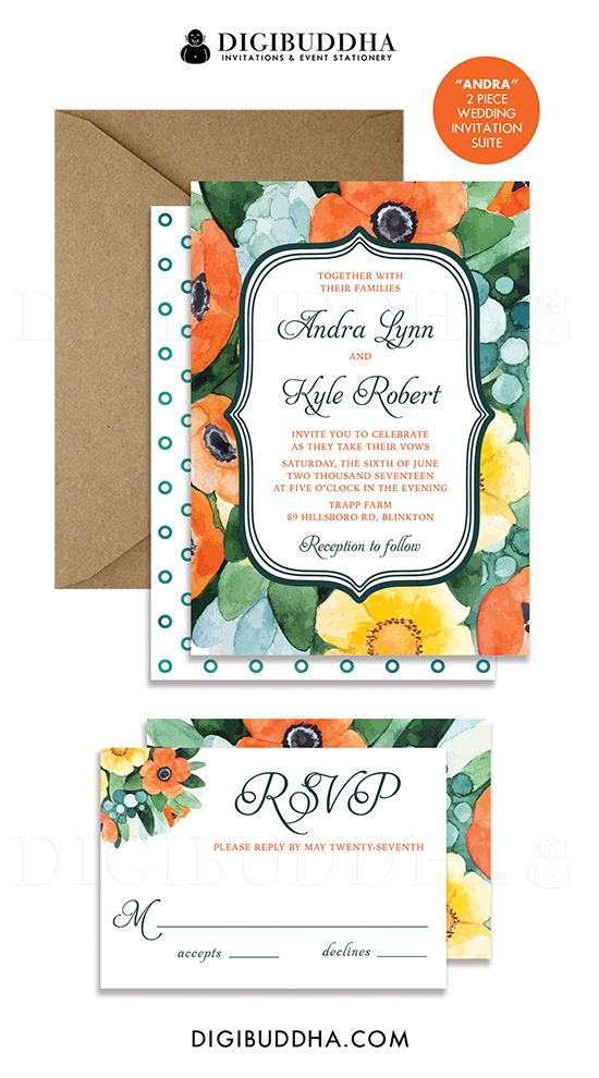 Rustic Boho Chic Painterly Watercolor Flowers 2 Piece Wedding ...