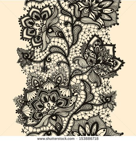 Abstract Lace Ribbon Seamless Pattern With Elements Flowers Template Frame Design For Card Lace Doily Can Lace Tattoo Design Lace Garter Tattoos Lace Tattoo