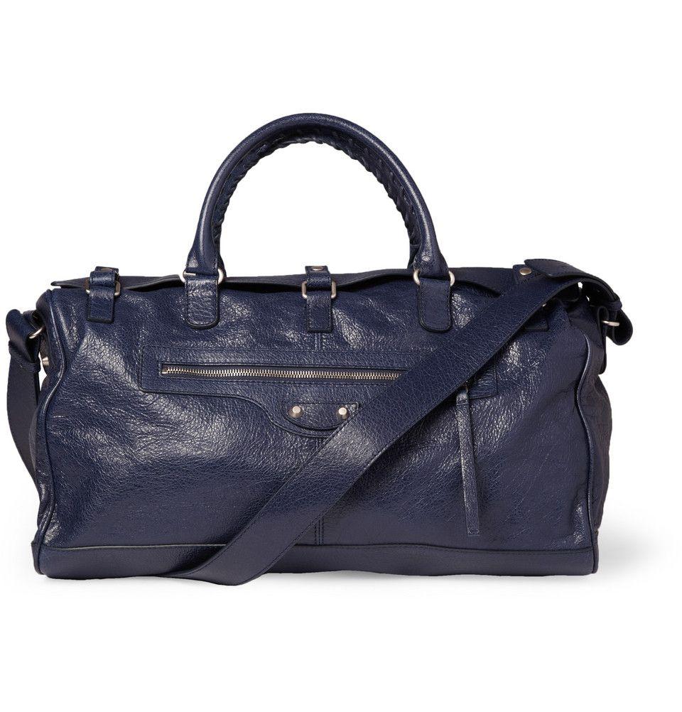 06019325e5e7 Balenciaga Squash Creased-Leather Holdall Bag