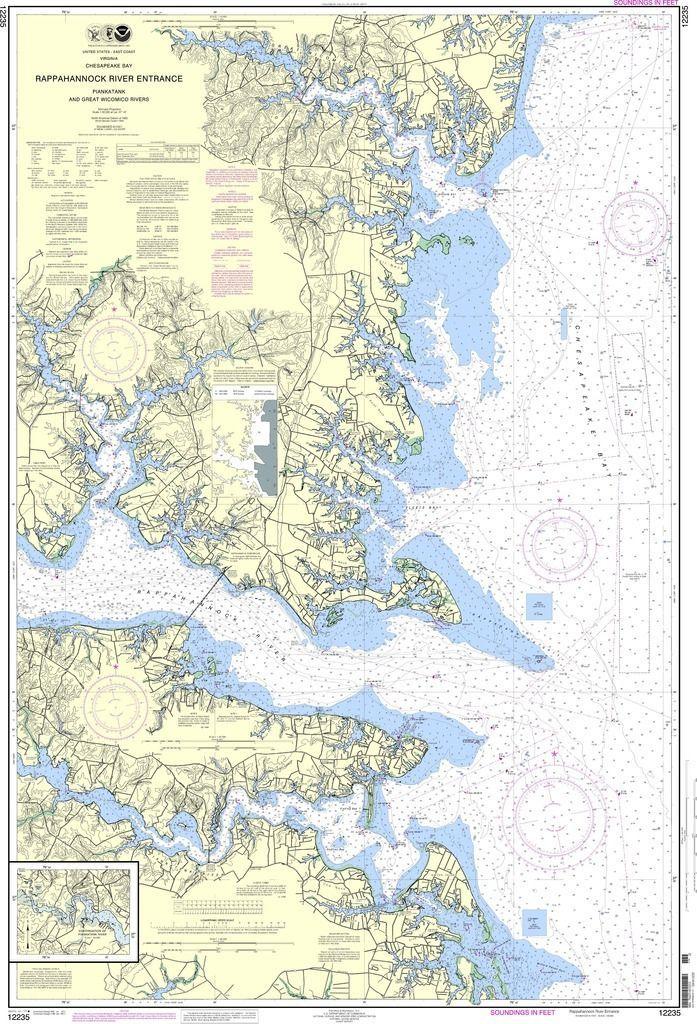 Noaa Nautical Chart 12235 Chesapeake Bay Rappahannock River Entrance Piankatank And Great Wicomico Rivers Nautical Chart Chesapeake Bay Travel Map Pins