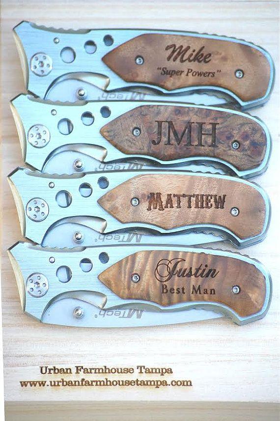 7 Personalized Pocket Knife Gift For Groomsmen Custom Engraved Wood Handle Hunting Knives Groomsman