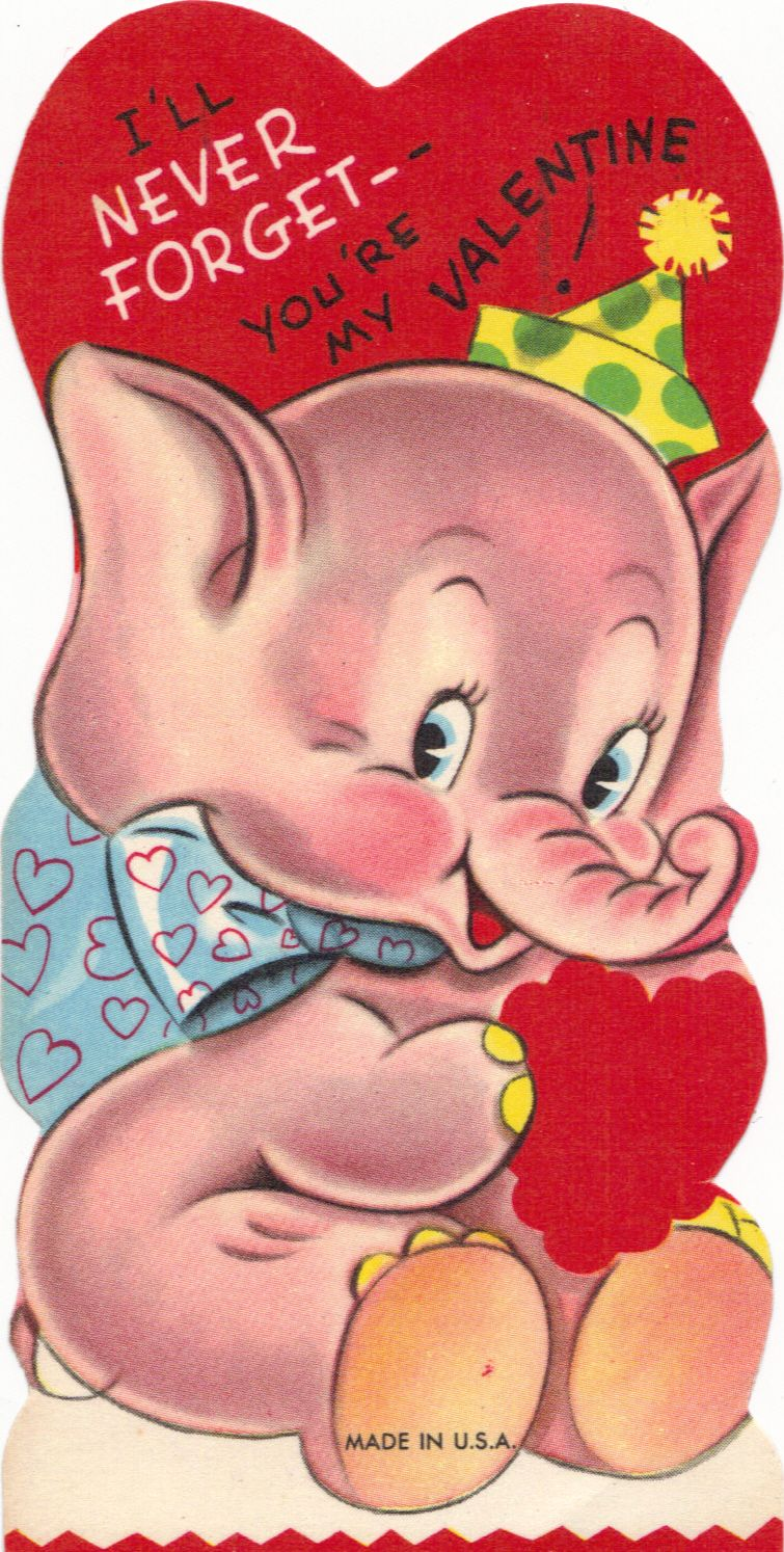 I remember getting this same Valentine in elementary school – Elephant Valentine Card