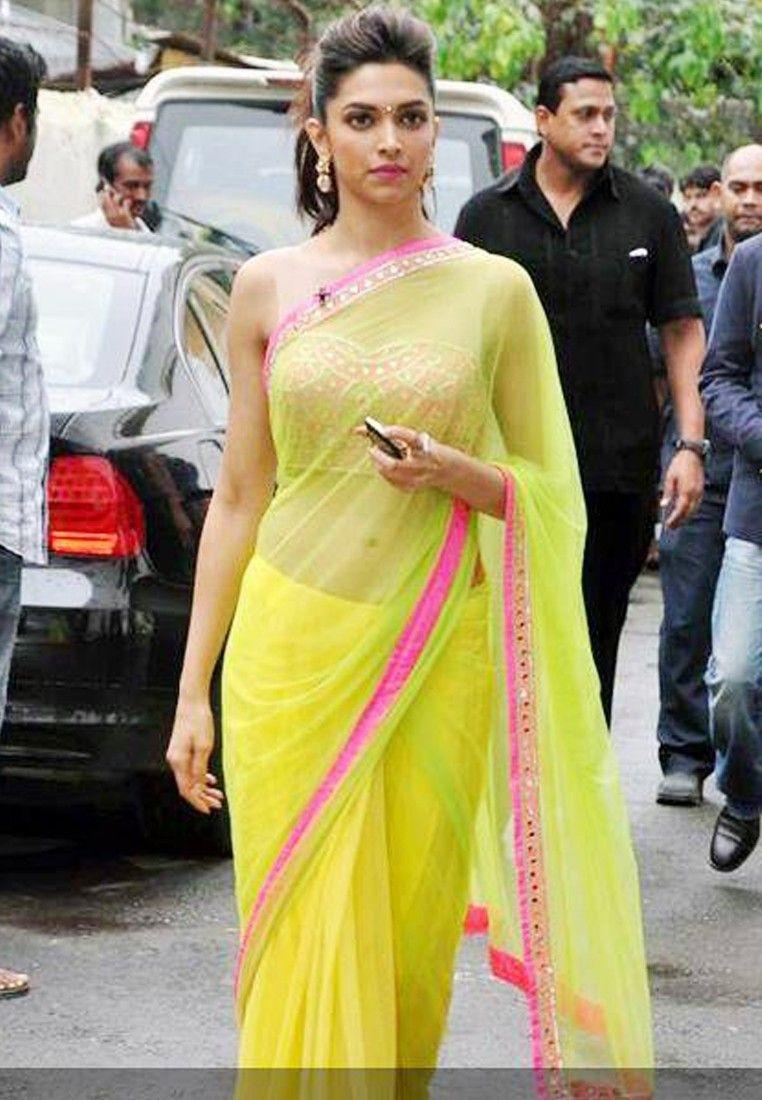 Deepika Padukone In Parrot Green Net Saree #Parrot Green ...