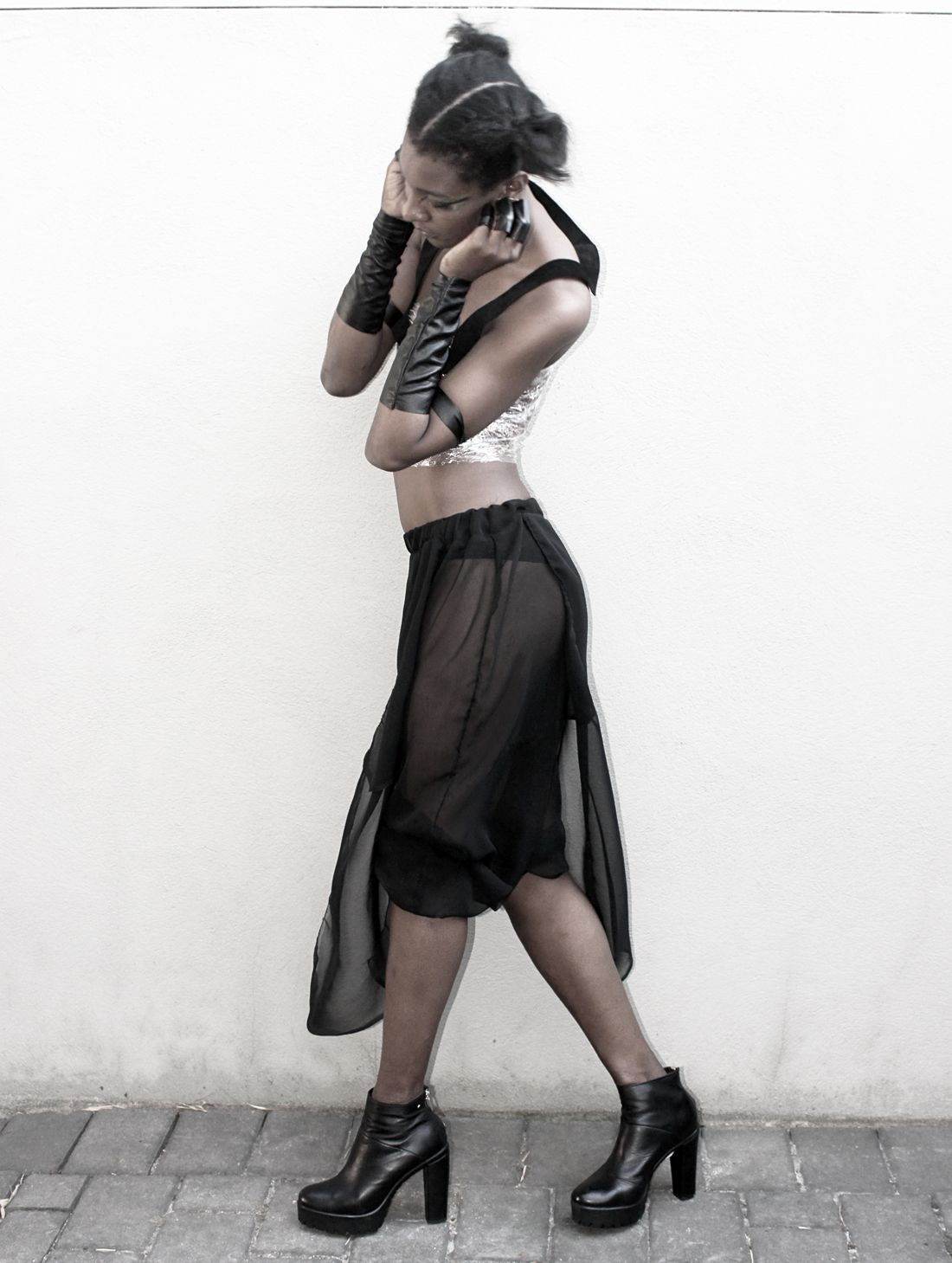 unisex vegan leather jewelry + organza harem pants with aprons