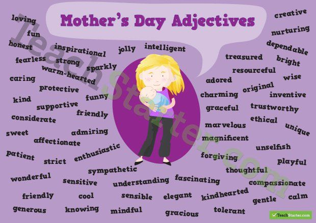 Mother S Day Adjectives Poster Adjectives Book Writing Tips