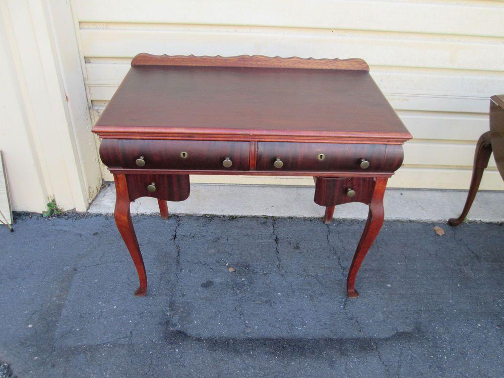 00001 Antique Mahogany Vanity Desk Chest #FrenchFrenchCountry