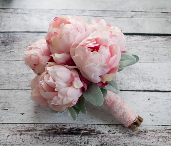 Lamb's ear is the perfect accent to this romantic silk blush peony wedding bouquet.  Your guests will never know it's silk! Blush Pink Peony Bouquet with Lamb's Ear and Lace by Kate Said Yes Weddings
