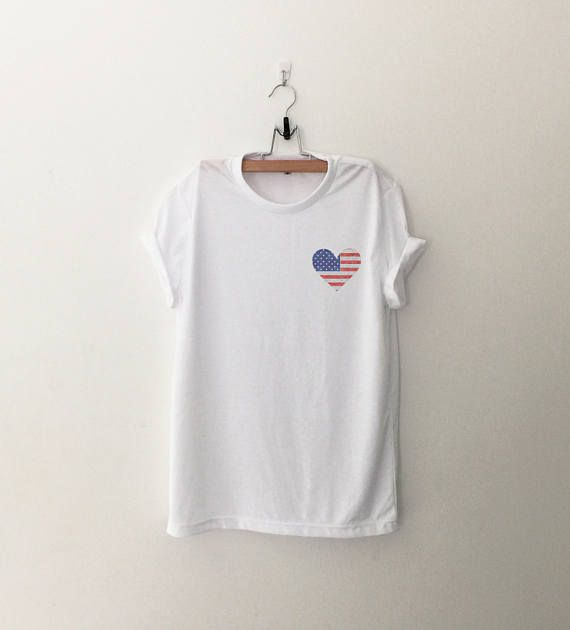 29ae8029b463 4th of july shirt women graphic tee pocket shirt stars and stripes flag  july 4th shirt heart printed