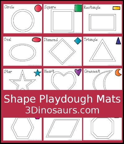 Free Shape Playdough Mats - 3Dinosaurs.com | shape activities ...