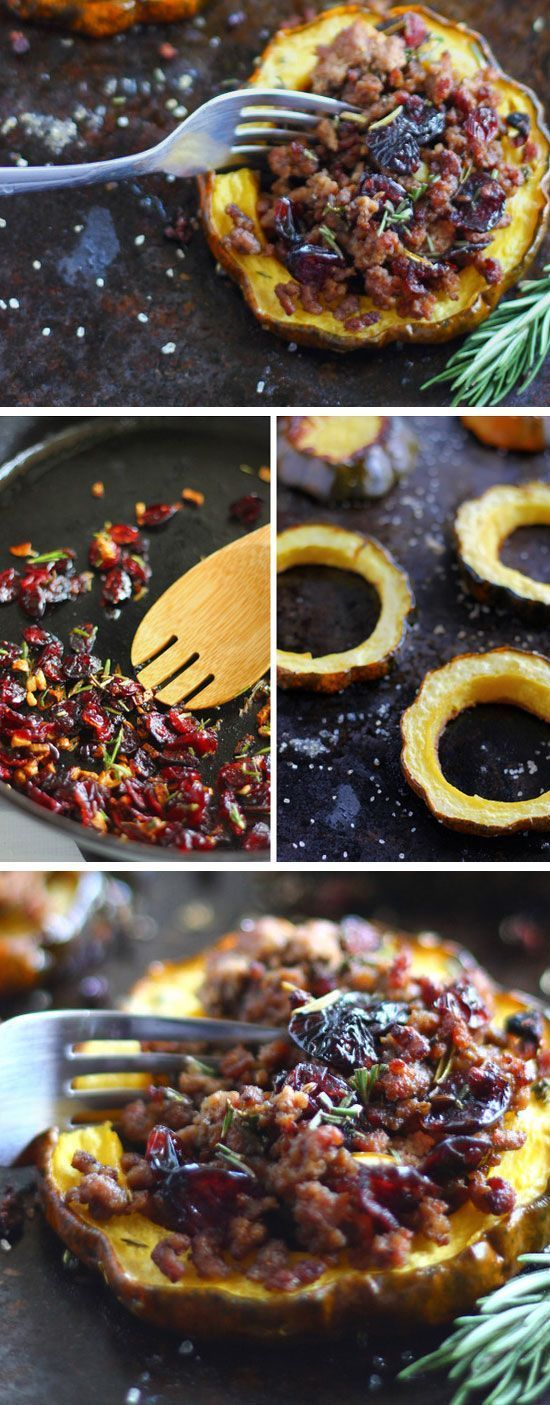 Paleo Cranberry  Beef Stuffed Acorn Squash Click for 30 Easy