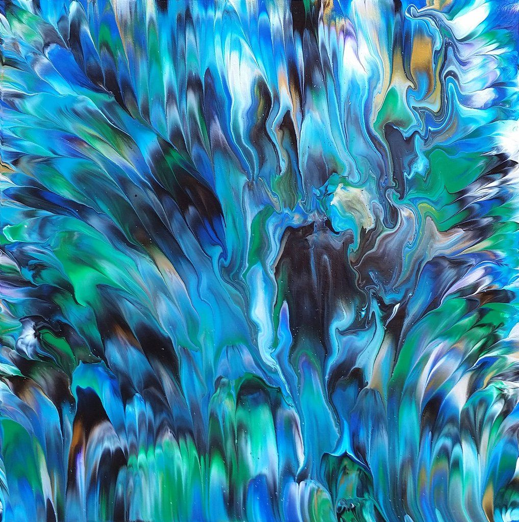 peacock is a fluid abstract painting with bold paint strokes and
