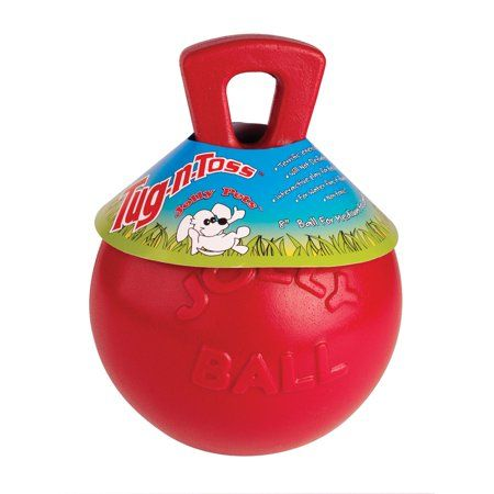 Jolly Pets Mini Tug N Toss Ball Dog Toy 4 Inch Red Size 8 Inch