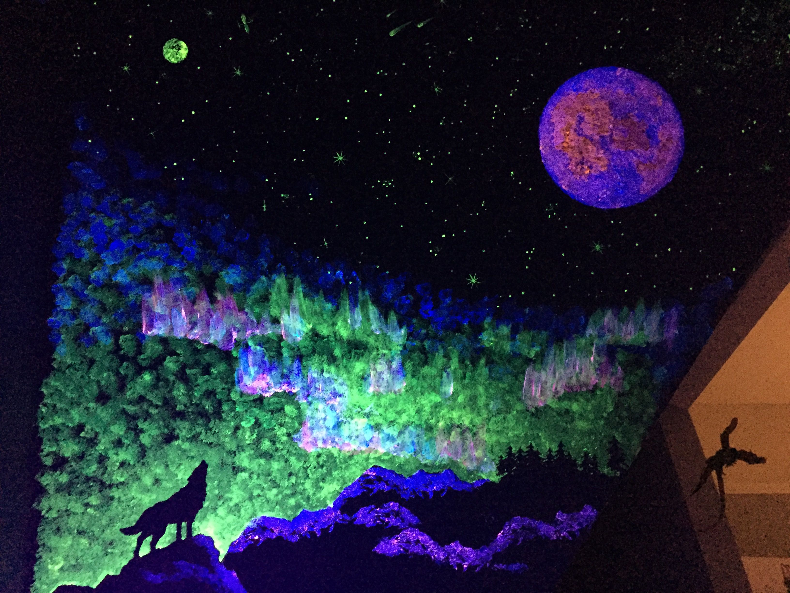 Glow In The Dark Wall Painting Mural Wolf Aurora Borealis Glow In The Dark Mural Painting Painting