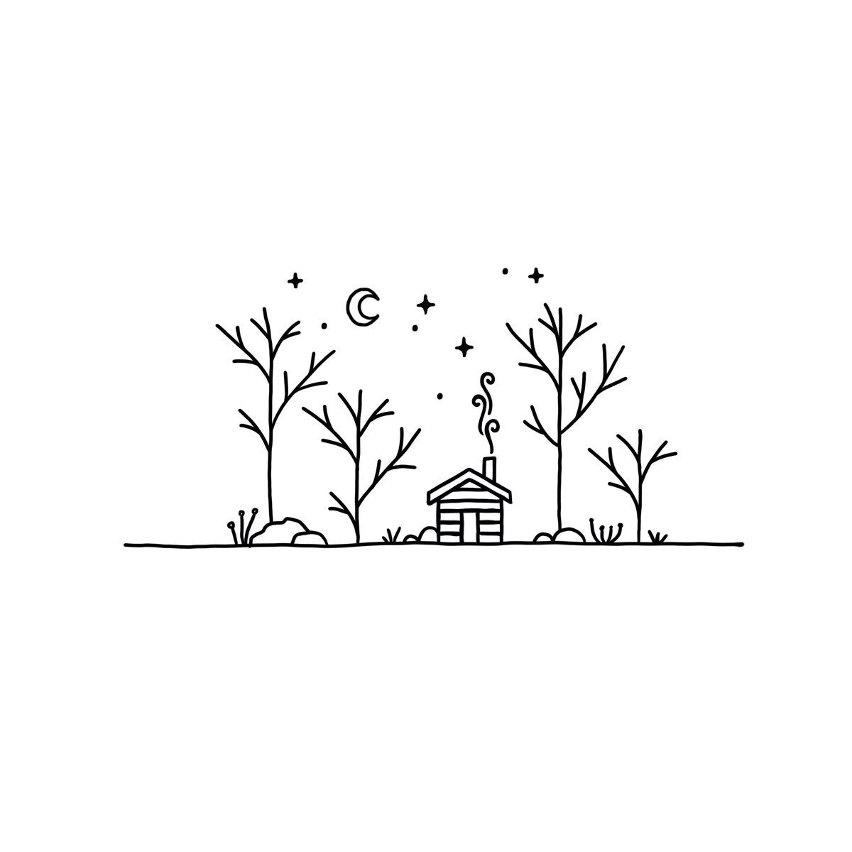 Cabin doodle - Outdoors doodle - Doodle -  Trees, woods, nature and cabin doodle by Dumont Design  - #Cabin #doodle #oldschoolTattooGraphic #Outdoors #TattooGraphicarm #TattooGraphicbird #TattooGraphicdesignideas #TattooGraphicdesigners #TattooGraphicgirl #TattooGraphicnature