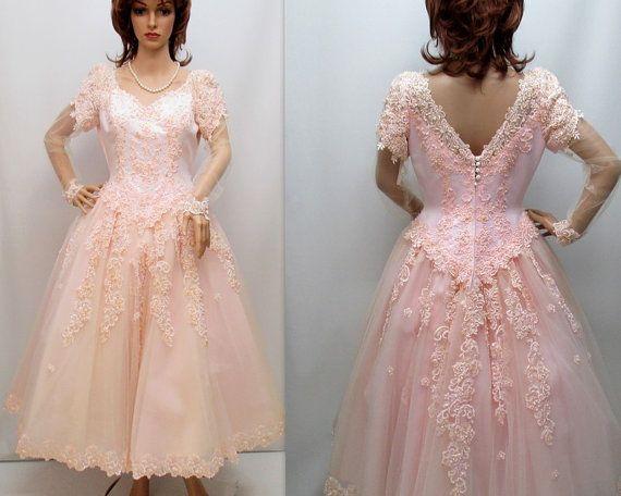 Vintage 60s Pink Cupcake Wedding Dress Pink by RosasVintageFinds