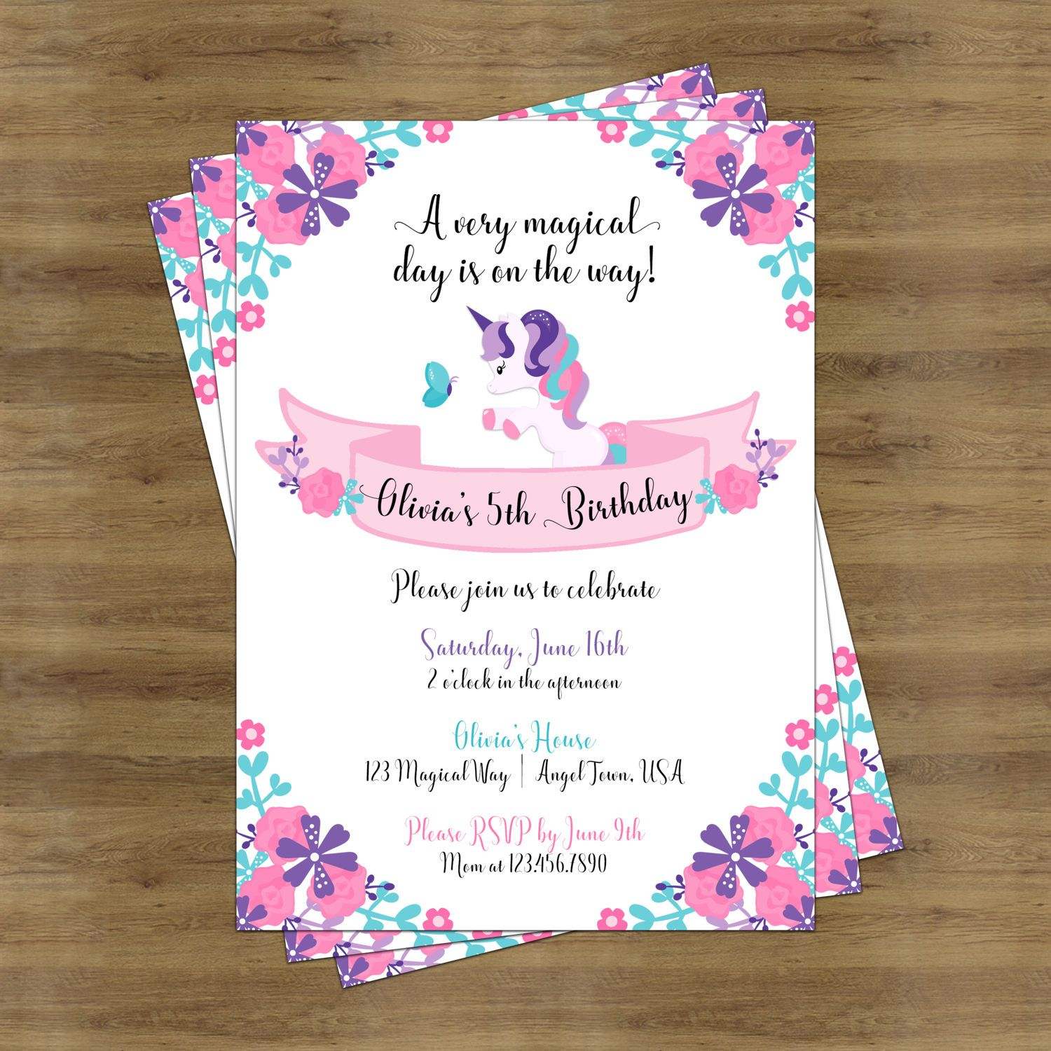 Unicorn Invitation; Unicorn Birthday Invitation; Unicorn Birthday ...