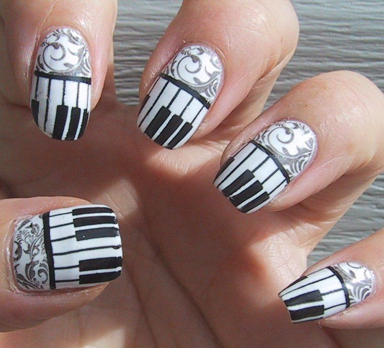 Frippery Digits Piano Keys And Filigree Nail Over Pinterest