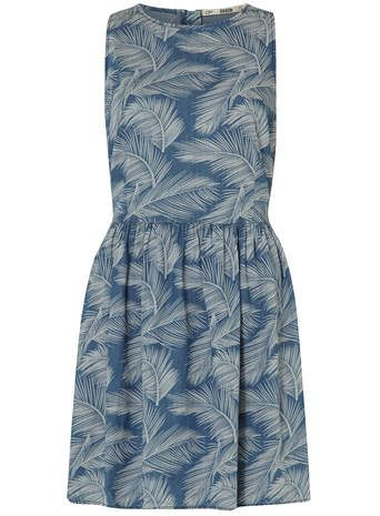 Palm Print Denim Dress
