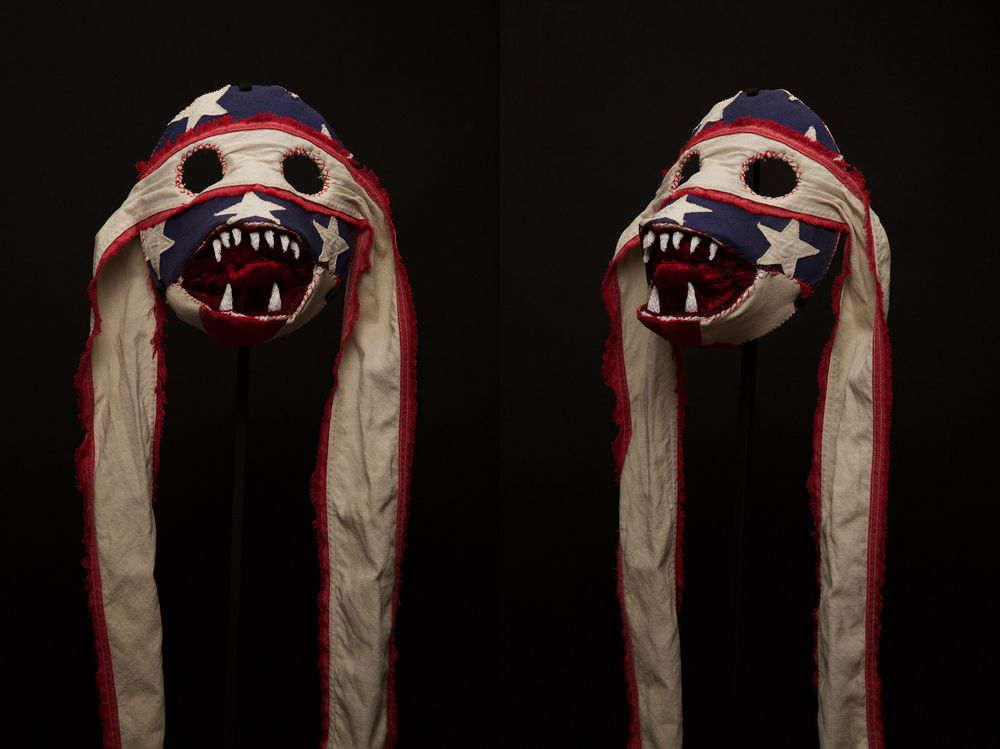 The exhibition of '50 Masks Made in America' by Belgian artist Christophe…