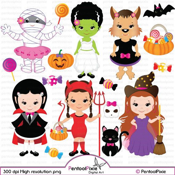 Halloween Girls Clipart Cute Witch Frankenstein Girl Etsy Halloween Clipart Halloween Kids Kids Halloween Tshirts