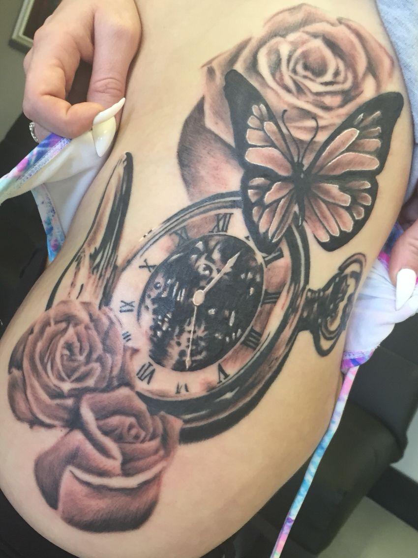 Pocket watch, butterfly, roses tattoo | Tattoos by Gabriel | Tattoos ...