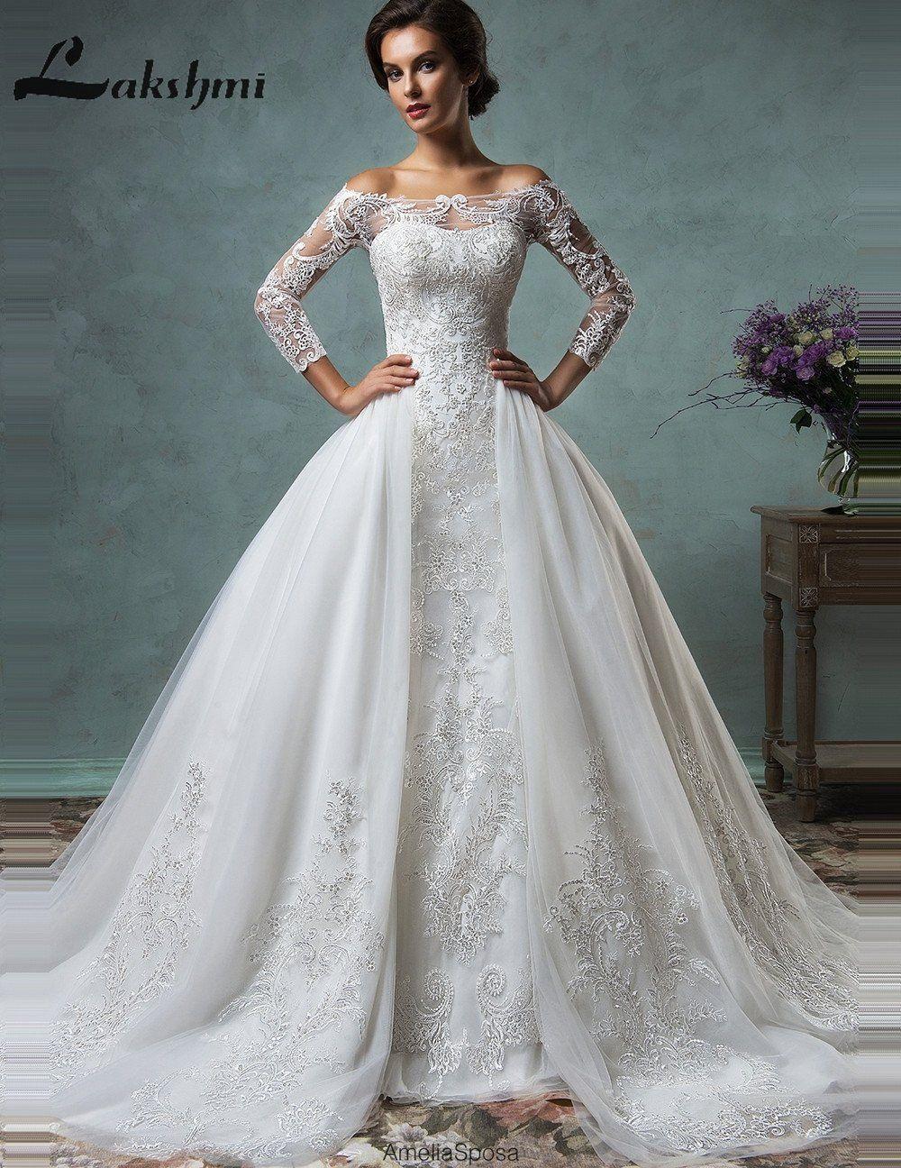 Elegant Long Sleeve Detachable Wedding Dresses Off