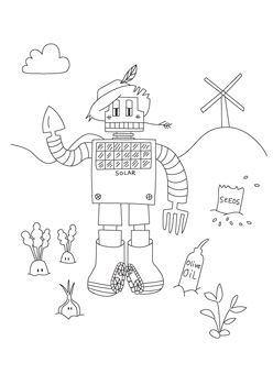 This Free Coloring Page Features An Adorable Robot With Gardening Tools For Hands