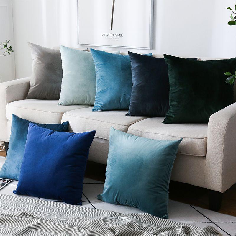 Luxury Velvet Plain Sofa Cushion Cover Sofa Throw Pillow Sham 60cm Black