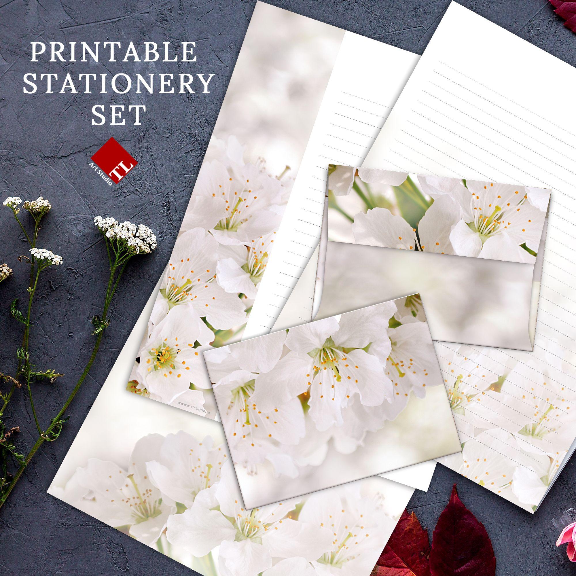 Cherry Blossom Printable Stationery Set White Flowers Etsy Printable Stationery Stationery Set Stationery