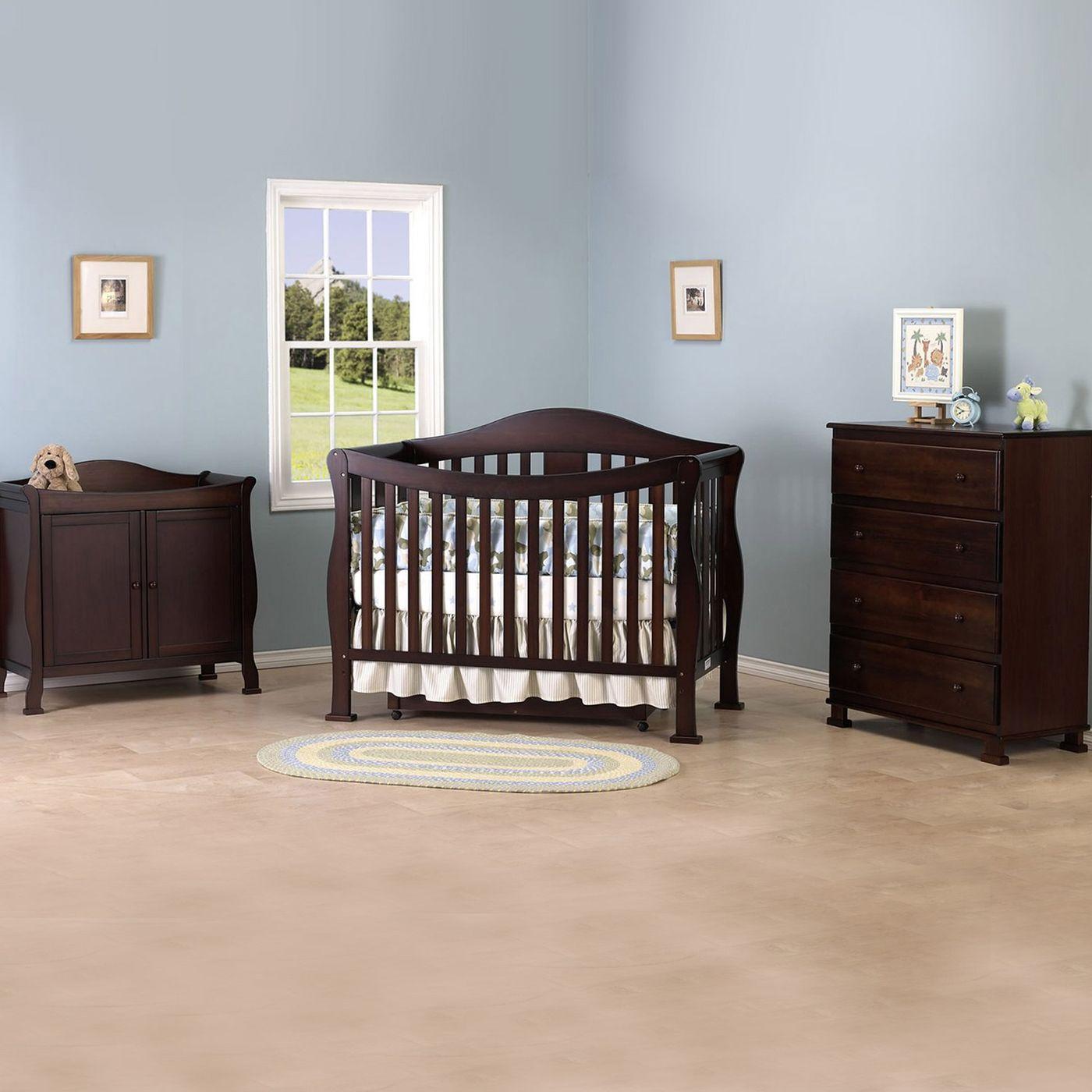 Davinci 3 Piece Nursery Set Parker 4 In 1 Convertible Crib With Toddler Rail