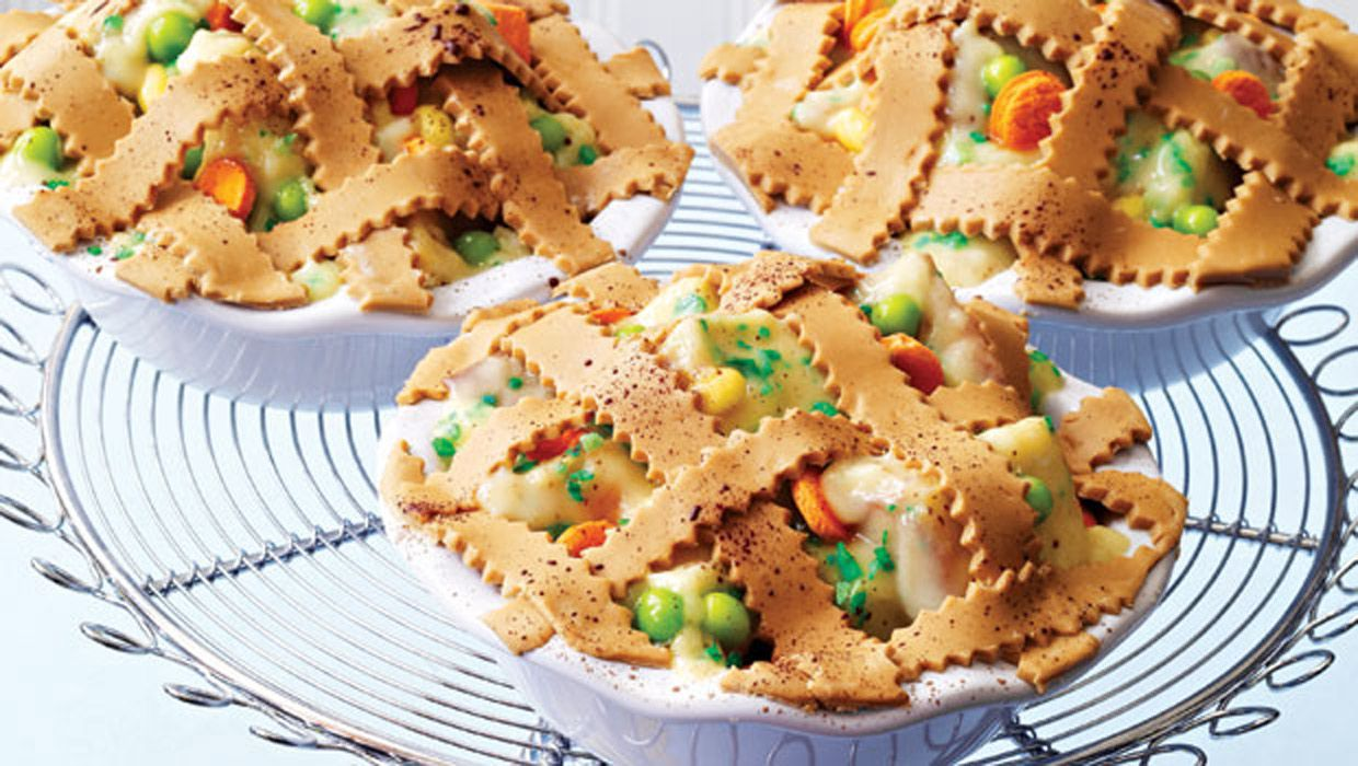 """""""Bite into succulent chunks of chicken slathered in cream sauce with peas, corn, and carrots under a golden crust and … April Fools! It's a trifle made from pound cake with vanilla pudding and bits of candy, topped with a butterscotch candy lattice."""" Find these and more featured in our countdown to April Fools' Day: [...]"""