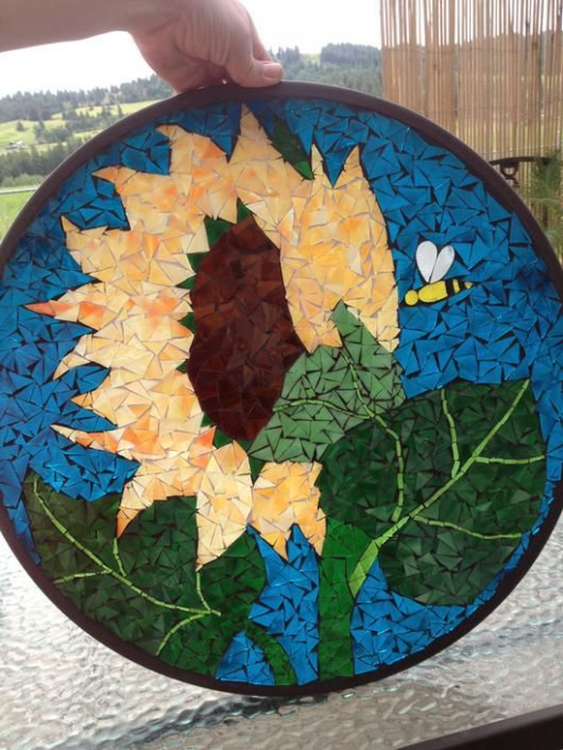 Sun Flower Table Stained Glass Mosaic #flowers #sun #flowers